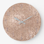 Rose Gold Blush Pink Glam Sparkle Crackle Chic Large Clock