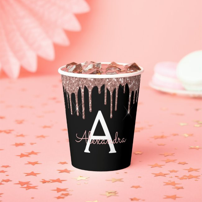 Rose Gold Blush Pink Glitter and Sparkle Monogram Paper Cups