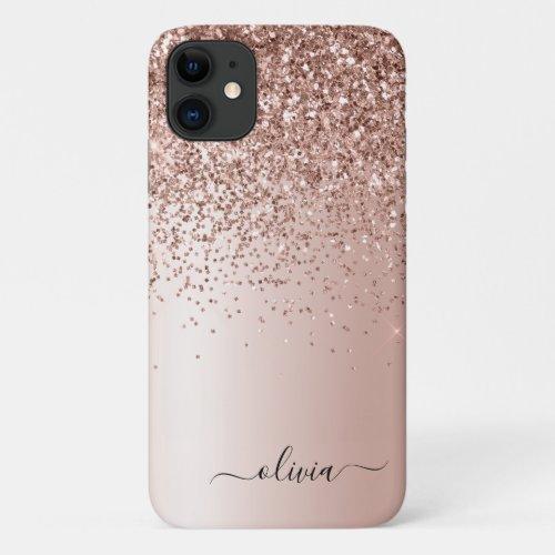 Rose Gold - Blush Pink Glitter Metal Monogram Name Phone Case