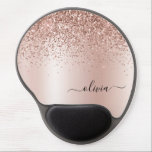 """Rose Gold - Blush Pink Glitter Metal Monogram Name Gel Mouse Pad<br><div class=""""desc"""">Rose Gold - Blush Pink  Faux Foil Metallic Sparkle Glitter Brushed Metal Monogram Name and Initial Mousepad (Mouse Pad). This makes the perfect sweet 16 birthday,  wedding,  bridal shower,  anniversary,  baby shower or bachelorette party gift for someone that loves glam luxury and chic styles.</div>"""