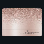 "Rose Gold - Blush Pink Glitter Metal Monogram Name iPad Pro Cover<br><div class=""desc"">Rose Gold - Blush Pink Faux Foil Metallic Sparkle Glitter Brushed Metal Monogram Name Laptop Case. This makes the perfect sweet 16 birthday,  wedding,  bridal shower,  anniversary,  baby shower or bachelorette party gift for someone that loves glam luxury and chic styles.</div>"