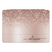 Rose Gold - Blush Pink Glitter Metal Monogram Name iPad Pro Cover
