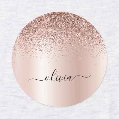 Rose Gold - Blush Pink Glitter Metal Monogram Name Labels