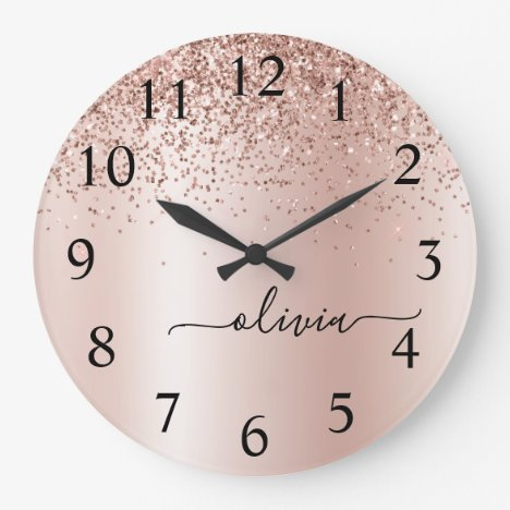 Rose Gold - Blush Pink Glitter Metal Monogram Name Large Clock