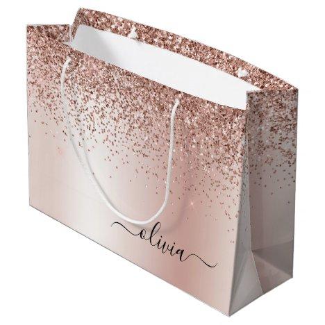 Rose Gold - Blush Pink Glitter Metal Monogram Name Large Gift Bag