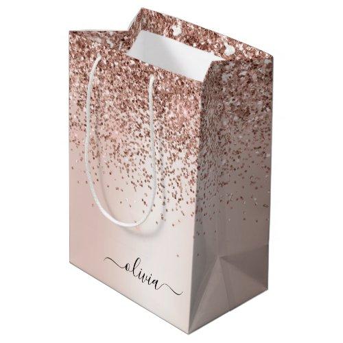 Rose Gold - Blush Pink Glitter Metal Monogram Name Medium Gift Bag
