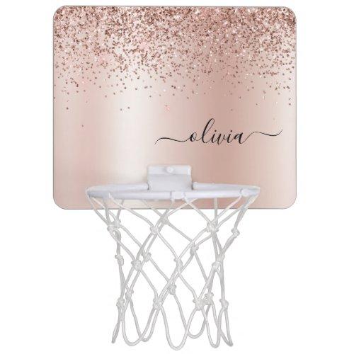 Rose Gold - Blush Pink Glitter Metal Monogram Name Mini Basketball Hoop