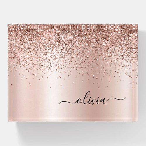 Rose Gold - Blush Pink Glitter Metal Monogram Name Paperweight