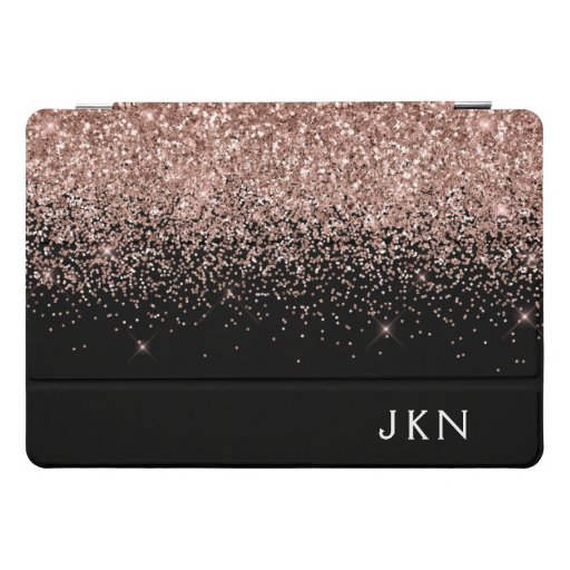 Rose Gold Blush Pink Glitter Monogram Initials iPad Pro Cover