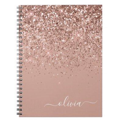 Rose Gold Blush Pink Glitter Script Monogram Girly Notebook