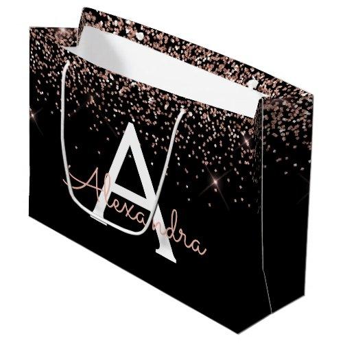 Rose Gold Blush Pink Glitter & Sparkle Monogram Large Gift Bag