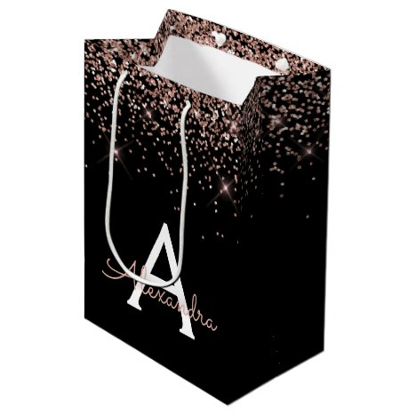 Rose Gold Blush Pink Glitter Sparkle Monogram Medium Gift Bag