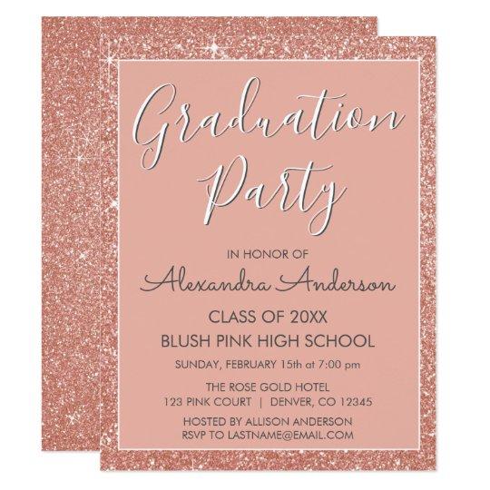rose gold blush pink graduation party invitation zazzle com