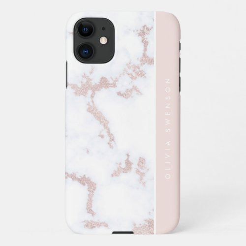 Rose Gold & Blush Pink Marble Subtle Personalized Phone Case