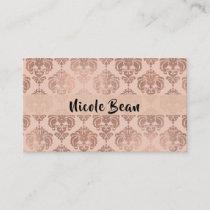 Rose Gold Blush Pink Modern Glam Damask Business Card