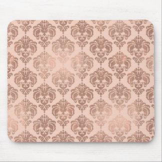 Rose Gold Blush Pink Modern Glam Damask Mouse Pad