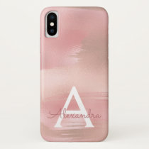 Rose Gold - Blush Pink Modern Monogram iPhone XS Case
