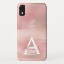 Rose Gold - Blush Pink Modern Monogram iPhone XR Case