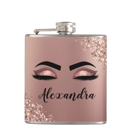Rose Gold Blush Pink Monogram Glitter Eyelashes Flask