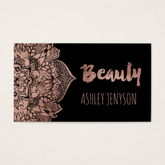 Rose gold boho floral mandala beauty typography business card