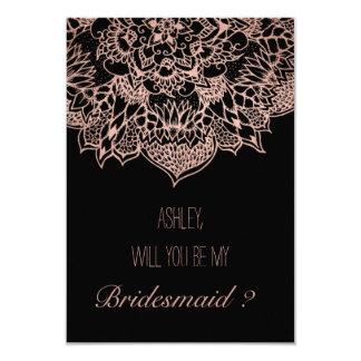 Rose gold boho floral mandala bridesmaid card