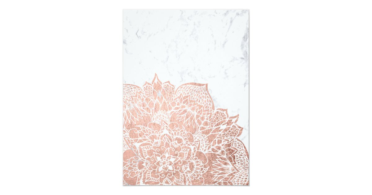 Rose Gold Boho Floral Mandala Marble Graduation Card Zazzle