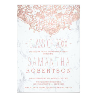 Rose gold boho floral mandala marble graduation card