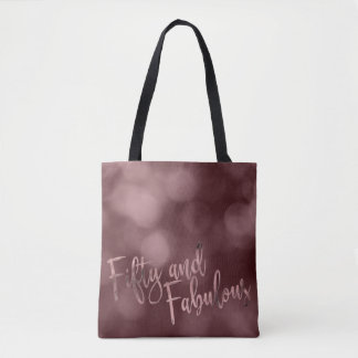 Rose Gold & Bokeh Fifty and Fabulous Typography Tote Bag
