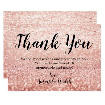 purplepaperinvites Rose Gold Bokeh Lights Sweet 16 Thank You Note Card