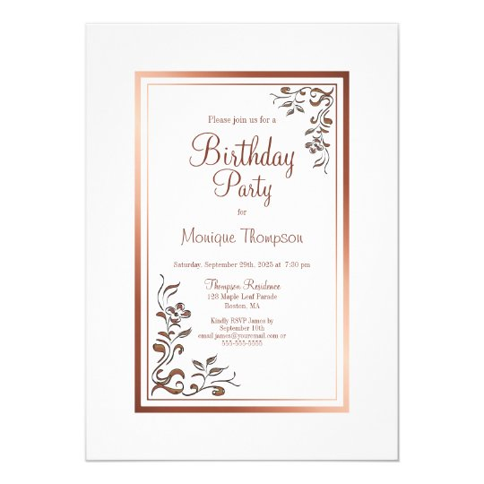 Rose Gold Border Floral Birthday Party Invitation