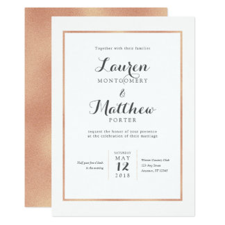 Rose Gold Border Modern Wedding Invitation