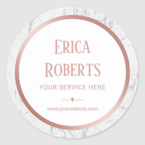 Rose Gold Border White Marble Business Promotional Classic Round Sticker