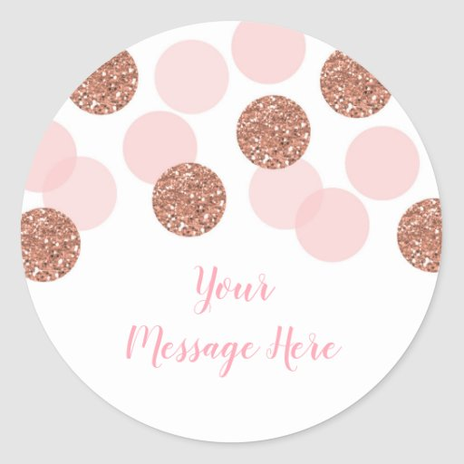 Rose Gold Bridal Shower Classic Round Sticker
