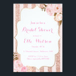 "Rose Gold Bridal Shower Invitation<br><div class=""desc"">Rose Gold Floral Bridal Shower Invitation,  Floral Baby Shower invitation</div>"