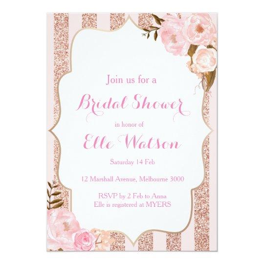 Rose Gold Bridal Shower Invitation Zazzlecom