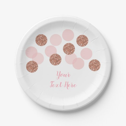 Rose Gold Bridal Shower Paper Plate