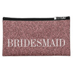 Rose Gold Bridesmaid Personalized Cosmetic Bags at Zazzle