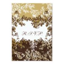 "rose ""gold brown""  wedding RSVP Standard 3.5 x 5 Card"