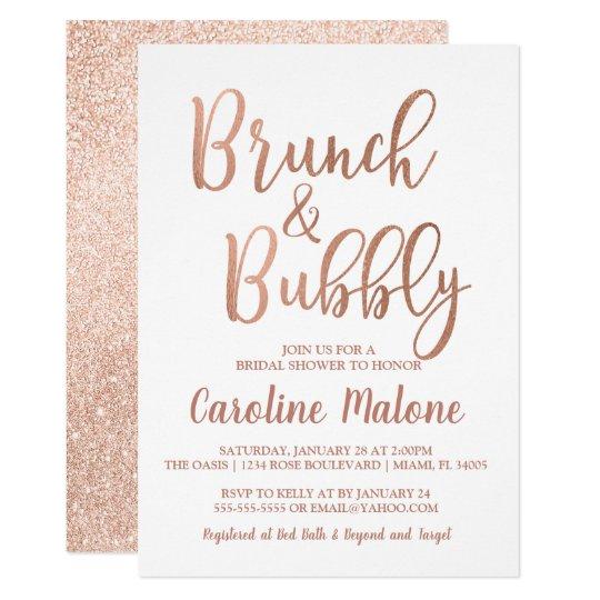 rose gold brunch bubbly bridal shower invitation zazzle com