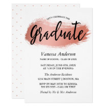 Rose Gold Brush Stroke Graduation Party Invitation
