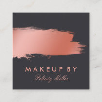 Rose Gold Brush Stroke Makeup Square Business Card