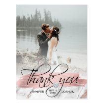 Rose Gold Brush Stroke Wedding Thank You | 2 PHOTO Postcard
