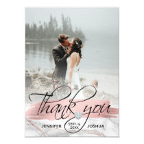 Rose Gold Brush Stroke Wedding Thank You | PHOTO Invitation