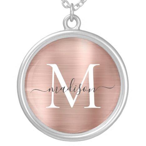 Rose Gold Brushed Metal Foil Monogram Script Name Silver Plated Necklace
