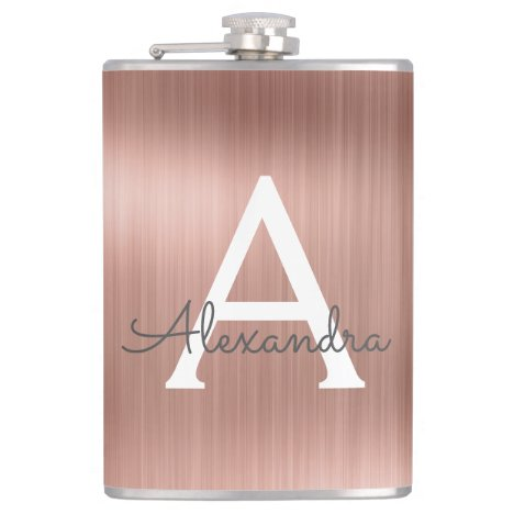 Rose Gold Brushed Metal Monogram Name and Initial Flask