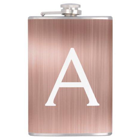 Rose Gold Brushed Metal Monogram Name and Initial Flask