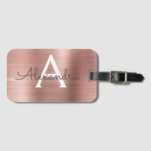 Rose Gold Brushed Metal Monogram Name and Initial Luggage Tag
