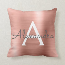 Rose Gold Brushed Metal Monogram Name and Initial Throw Pillow