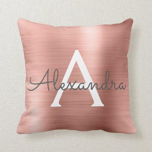 Rose Gold Brushed Metal Monogram Name and Initial Throw Pillow