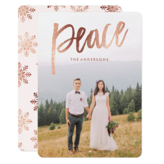 Rose Gold Brushed Overlay Holiday Photo Card